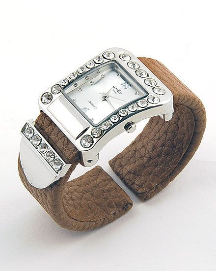 BROWN  BELT BUCKLE CRYSTAL WATCH BANGLE