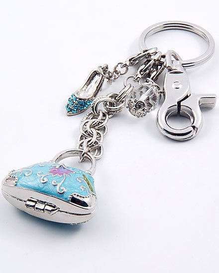 BLUE 3D  CRYSTAL PURSE HANDBAG LOCKET KEYCHAIN