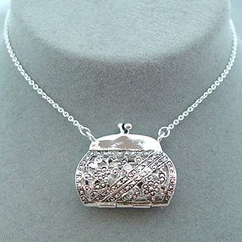 FILIGREE ANTIQUE STYLE MARCASITE LOOK PURSE NECKLACE