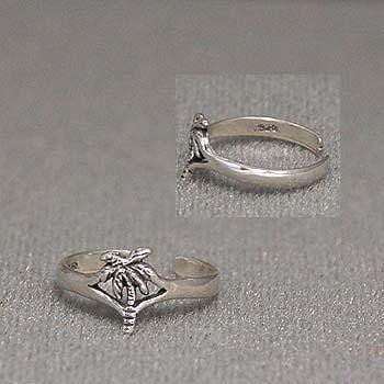 TROPICAL PALM TREE FLORIDA 925 STERLING SILVER TOE RING