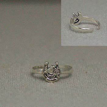 925 STERLING SILVER WESTERN COWGIRL HORSE HORSESHOE TOE RING