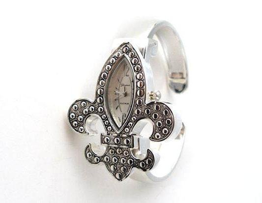 FRENCH FLEUR DE LIS NEW ORLEANS WATCH BANGLE BRACELET