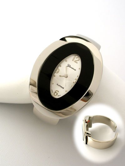 CONTEMPORARY SILVER TONE CIRCLE BANGLE BRACELET WATCH