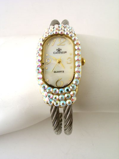 DESIGNER LOOK  AURORA BOREALIS 2 ROW AB CABLE BANGLE WATCH