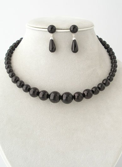 BLACK FAUX PEARL GRADUATED CHOKER NECKLACE SET