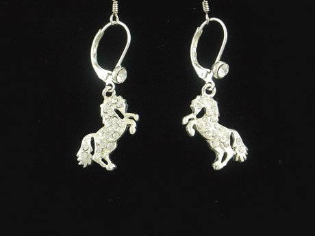WESTERN COWGIRL AUSTRIAN CRYSTAL HORSE RODEO EARRINGS
