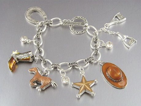 WESTERN COWGIRL HORSE HORSESHOE BOOT RIDER TEXAS STAR CRYSTAL BRACELET