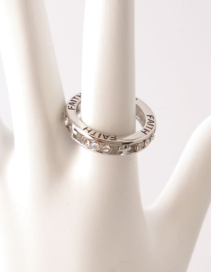 RELIGIOUS FILIGREE FAITH CHRISTIAN CROSS CRYSTAL RING 7