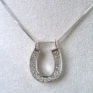 WESTERN COWGIRL HORSE SHOE HORSESHOE CRYSTAL NECKLACE