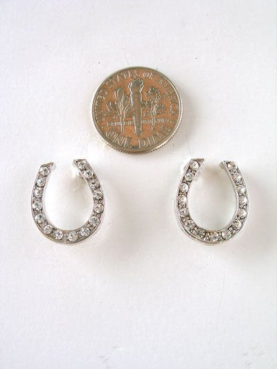 WESTERN COWGIRL HORSE SHOE HORSESHOE CRYSTAL EARRINGS