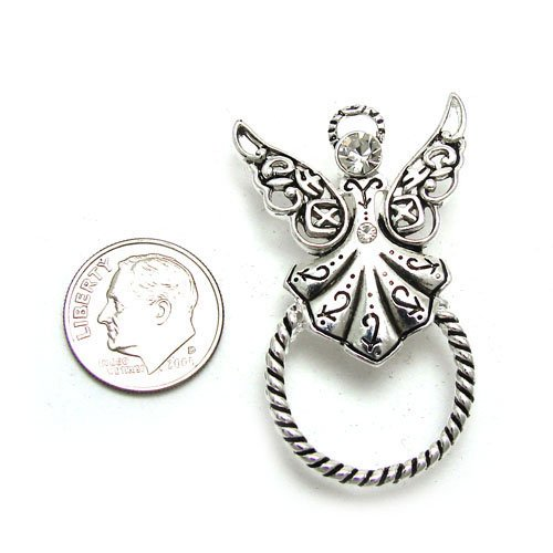 GUARDIAN ANGEL CRYSTAL ID EYE GLASS HOLDER BROOCH PIN