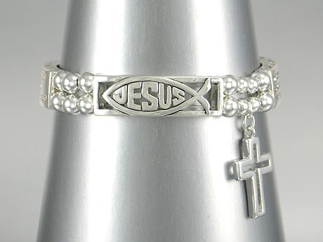 NEW RELIGIOUS JOHN 3:16 WHOEVER BELIEVES IN HIM JESUS CROSS BRACELET