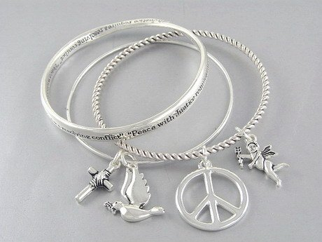 PEACE SIGN GOOD KARMA GUARDIAN ANGEL WINGS BIRD BANGLES
