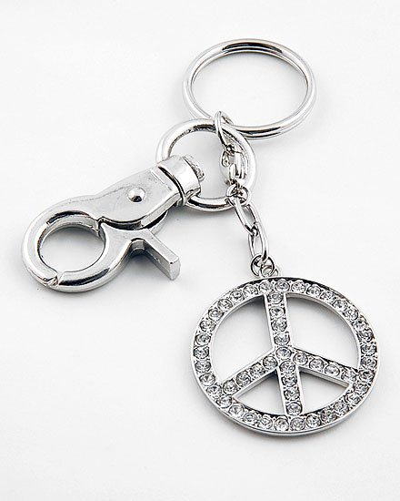 PEACE LOVE HARMONY GOOD KARMA PURSE 49 CRYSTAL KEYCHAIN