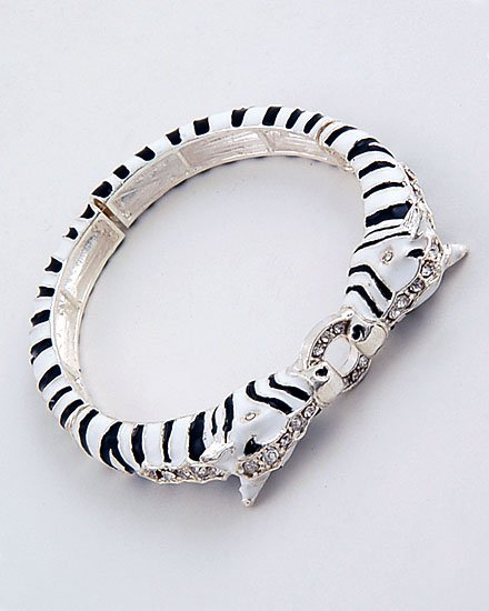 3D JUNGLE BLACK WHITE ZEBRA CRYSTAL ANIMAL PRINT BANGLE