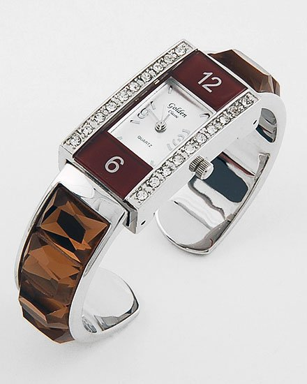 BROWN FAUX TOPAZ GEMSTONE LOOK 20 CRYSTAL BANGLE WATCH