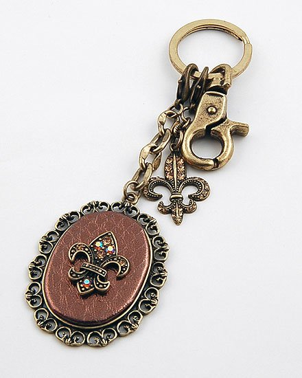 FRENCH FLEUR DE LIS HANDBAG PURSE 30 CRYSTAL KEYCHAIN