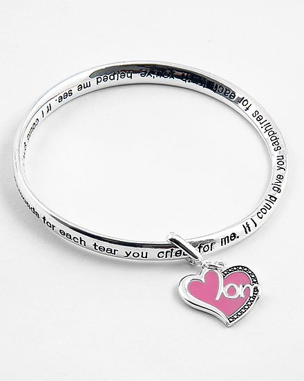 MOM MOTHER LOVE HEART WORD QUOTE MOBIUS BRACELET