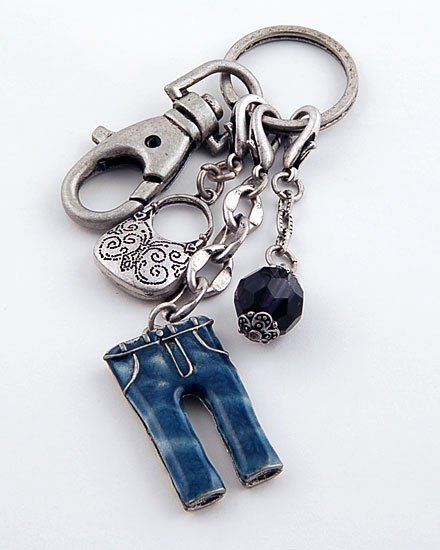 3D BLUE JEANS PANTS PURSE HANDBAG KEY CHAIN KEYCHAIN