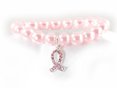 PINK RIBBON BREAST CANCER AWARENESS FAUX PEARL BRACELET