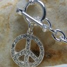 NEW PEACE SIGN LOVE HARMONY GOOD KARMA CRYSTAL NECKLACE