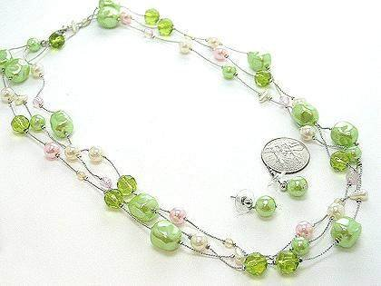 NEW LONG MULTI STRAND LIME GREEN OFF WHITE FAUX PEARL SET