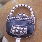 Black Silver Tone Handbag Purse Hook Caddy Holder