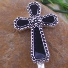 HOT BLACK RELIGIOUS CROSS PURSE N' HOOK HANDBAG HANGER