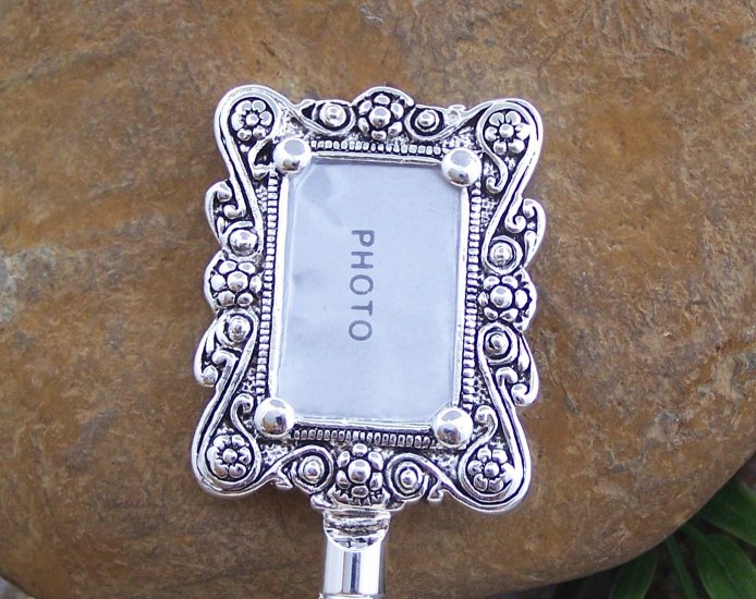 Photo Memory Frame Picture Silver Tone Handbag Purse Hook Caddy Holder