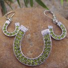 NEW WESTERN GREEN SILVER EP HORSESHOE PENDANT SET