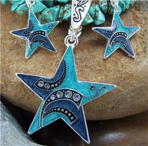 NEW BLUE WESTERN RODEO STAR NECKLACE PENDANT SET
