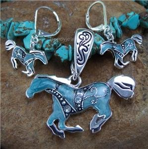 NEW BLUE WESTERN HORSE PONY NECKLACE PENDANT SET