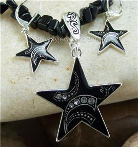 NEW BLACK WESTERN RODEO STAR NECKLACE PENDANT SET