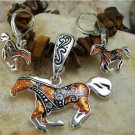 NEW BROWN WESTERN HORSE PONY NECKLACE PENDANT SET