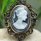 NEW BLACK PORTRAIT LADY CAMEO ADJUSTABLE 4 CRYSTAL RING