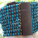 NEW BLUE TURQUOISE BROWN WIDE 10 ROW WOOD BEAD BRACELET