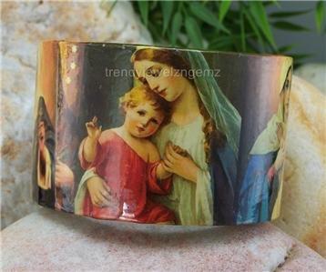 NEW RELIGIOUS VIRGIN MARY CATHOLIC BANGLE BRACELET