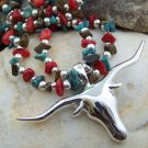 NEW MULTI WESTERN LONGHORN BULL NUGGET NECKLACE SET