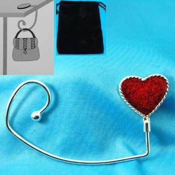 SPARKLING GLITTER HEART LOVE PURSE HOOK HANDBAG HOLDER