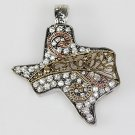 NEW WESTERN TRI TONE ANTIQUE LOOK TEXAS CRYSTAL NECKLACE PENDANT