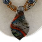 RED BLACK BLUE GRAY BROWN MURANO GLASS NECKLACE SET