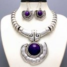 CHUNKY PURPLE WESTERN STATEMENT NECKLACE SET