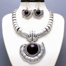 CHUNKY BLACK WESTERN STATEMENT NECKLACE SET