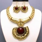CHUNKY BROWN WESTERN STATEMENT NECKLACE SET