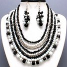 BLACK WHITE MULTISTRAND BEAD NECKLACE SET