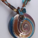 BROWN BLUE GREEN CIRCLE RING MURANO GLASS NECKLACE SET