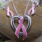 Pink Ribbon Breast Cancer Awareness Necklace Set
