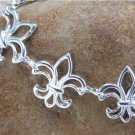 NEW FRENCH FLEUR DE LIS FLOWER SILVER TONE BRACELET