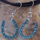 NEW BLUE WESTERN COWGIRL HORSESHOE 36 CRYSTAL EARRINGS