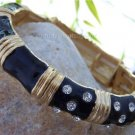 HOT NEW JET BLACK 20 CRYSTAL BAMBOO BANGLE BRACELET